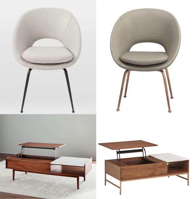 Слева — мебель от Williams-Sonoma, справа — продукция от Amazon